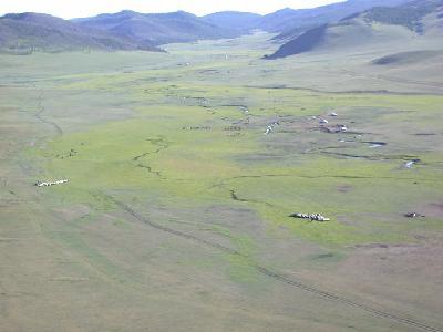 Luftbildaufnahme Orchon-Tal