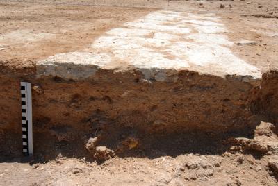 Umm el-Houl (Katar). Im Profil sind die Reste der untersten Steinlage einer Steinmauer erkennbar