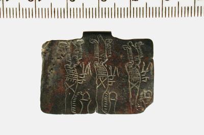 Kleines Amulettblech aus Kupfer mit Osirisdarstellung, Umm el-Qaab