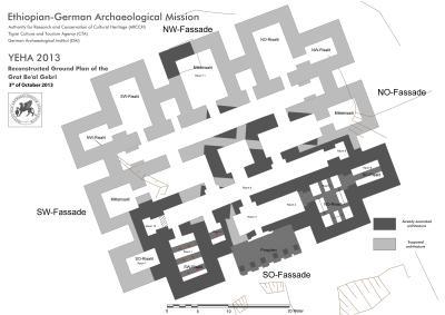 Yeha (Äthiopien). Monumentalbau Grat Beʿal Gebri um 800 v. Chr. Rekonstruierter Grundrissplan