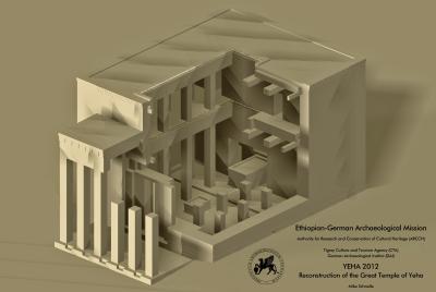 Yeha (Äthiopien). Rekonstruktonsversuch des Großen Tempels von Yeha.
