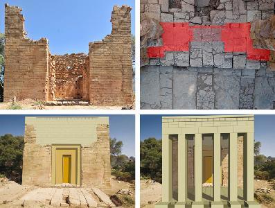 Yeha. Großer Tempel. Rekonstruktion der Türanlage und des vorgelagerten Propylons an der Frontfassade.
