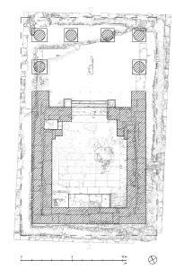 Schematische Rekonstruktion des kaiserzeitlichen Aufbaus auf dem Podium
