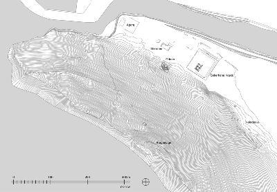 Stadtplan von Selinus mit den im Gelände erhaltenen baulichen Anlagen
