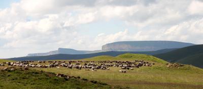 Grabhügelfeld auf dem Becasyn-Plateau und Blick auf die Siedlung Gumbashi