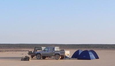 Research Camp in the mudpan Qa' al-Bakhita