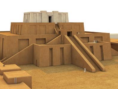 Rekonstruktion der Zikkurat in Uruk (Irak)