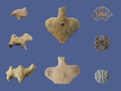 Gonur, Sektor 18. Tierfiguren und Siegel-Amulette