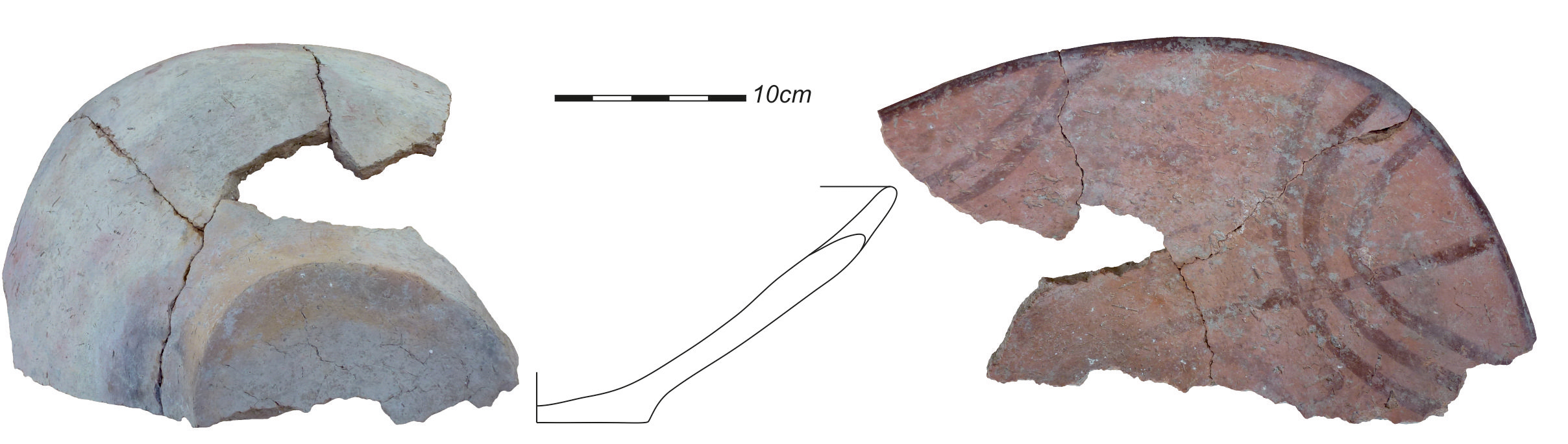 Ovales Gefäß mit Innenbemalung