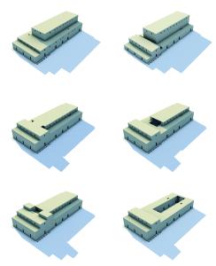 Unterschiedliche Massenmodelle des Gebäudes C der späten Uruk-Zeit
