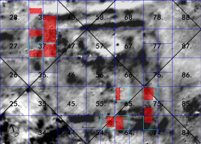 Resafa, Palastkomplex IV, FP 143, Magnetogramm, 2001 mit Markierung der Grabungsflächen, 2006