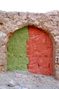 Resafa, Stadtmauer, Maueransatzfugen am Turm 49, 2006