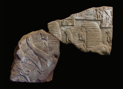 Relieffragmente aus dem inneren Hof der Anlage K93.11. Sie zeigen Ramsesnacht und seinen Vater Meribastet